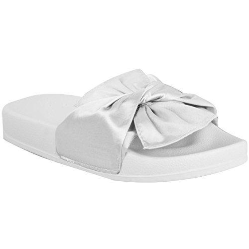 Mujer Cómodo planos Gomilla LAZO Deslizables Informal Zapatillas Satén Zapatos Talla Blanco Satinado