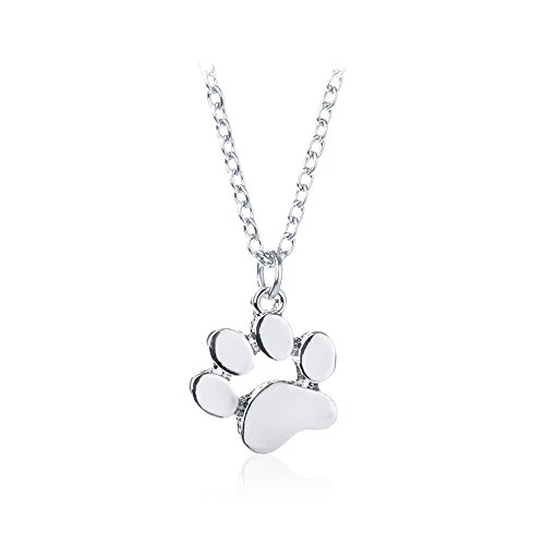 AOCHEE Cute Puppy Dog Paw Print Pendant Hollow Heart Footprint Necklace Memorial Jewelry (Silver-1)