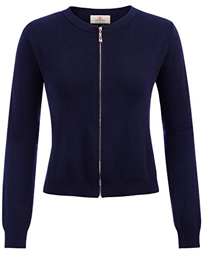 GRACE KARIN Women Zipper Bolero Shrug Jacket for Wedding Dress Navy Blue Size XL ()