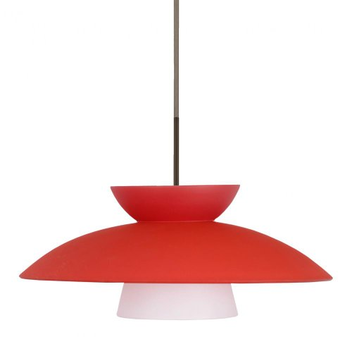 - Besa Lighting 1JT-451331-LED-BR 1X6W GU24 Trilo 15 LED Pendant with Red Matte Glass, Bronze Finish