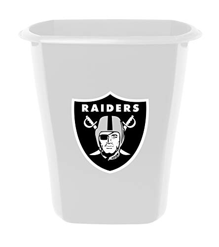 The Furniture Cove 5.5 Gallon - White Plastic Finish Trash Can Waste Basket Featuring Your Favorite Football Team Logo -