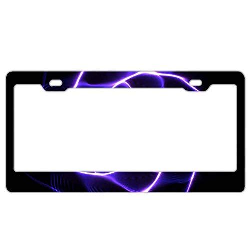 AUdddflicenshf Purple Lightning Polygon Swirl Aluminum Metal License Plate Frame, License Tag Holder