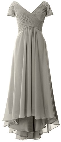 MACloth Formal Low Evening Neck Gown Sleeves Cap Dress Mother High Bride Silber V of rZrPT