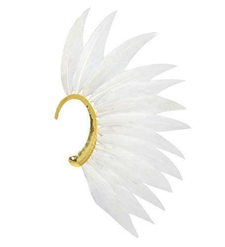 L'vow Men' Punk Style Feather Left Side Single Ear Cuffs Non Piercing Earring Wrap (White)