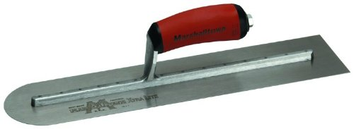 MARSHALLTOWN The Premier Line MXS81RED 18-Inch by 4-Inch Rounded End Finishing Trowel with Curved DuraSoftHandle - Marshalltown Finishing Trowel