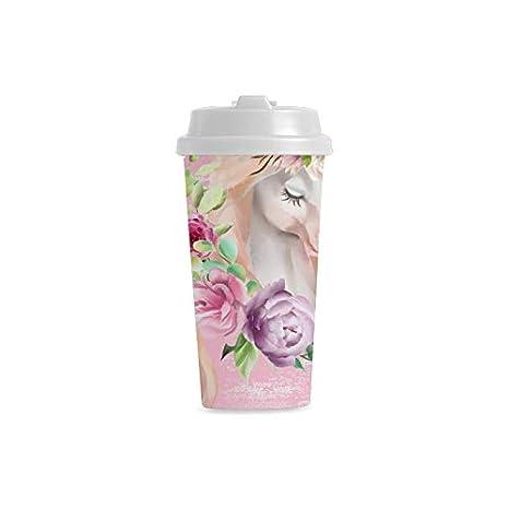 Decorado con flores Unicornio personalizado 16 oz Doble pared ...