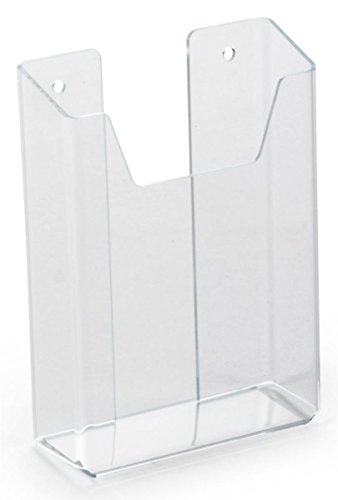 4-1/2 x 6 x 1-1/2 Inch Clear Acrylic Single Pocket Literature Rack Holds 4-1/4 Inch Pamphlets - Sold in Case Packs of Twelve Units - Plexiglas Wall Mounting Leaflet Display Includes Sticky Pads