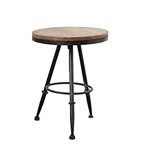 Creative Co-Op Wood & Metal Round Side Table 04-Furniture-Occassional, Brown