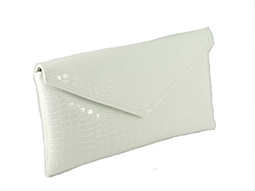 Loni Womens Neat envelope patent croc clutch bag in ()