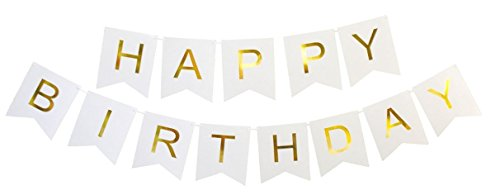 White Happy Birthday Party Banner - White and Gold Bunting Letters - Celebration Supplies Flag Decor Garland - Bday Decorations Design by Jolly Jon