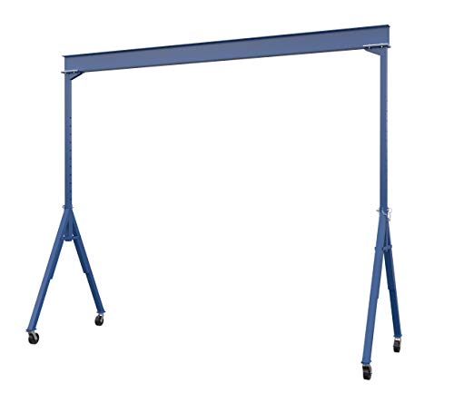 "Vestil AHS-6-20-16 Steel Adjustable Height Gantry Crane, 6000 lbs Capacity, 20' Length x 12"" Height Beam, 127""-193"" Usable Height"
