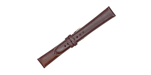 20mm British Brown - Padded Stitched - English Bridle Leather - Watch Strap Band - Gold & Silver Buckles Included – Factory Direct - Made in USA by Real Leather - Leather Usa