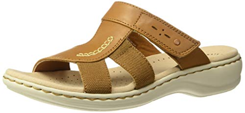 CLARKS Women's Leisa Emily Sandal, tan Leather/Textile Combo, 065 M US ()