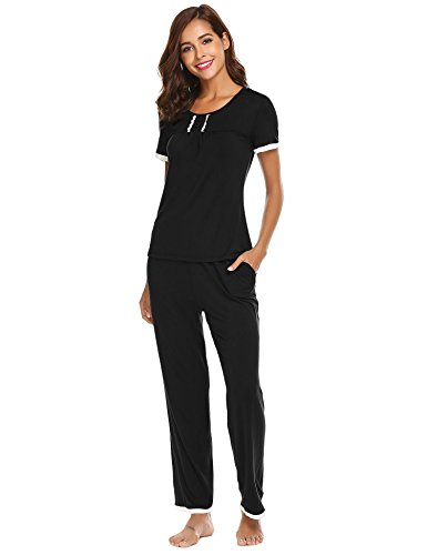 Ekouaer Cotton Short Sleeve Solid Women's Pajamas Tee Shirt and Pants with Pockets (Black M) (Pants Shirt Pajamas)