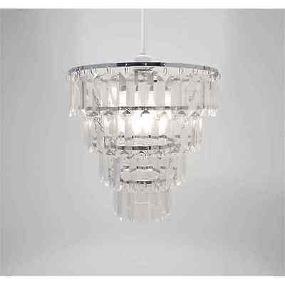 Chandelier chic ceiling light pendant shade crystal droplet fitting chandelier chic ceiling light pendant shade crystal droplet fitting easy fit clear silver tiered mozeypictures Gallery