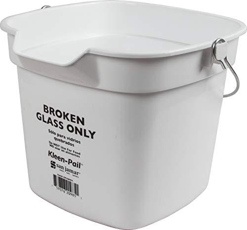 - San Jamar KP320WH Kleen-Pail Commercial Broken Glass Bucket, 10 Quart, White