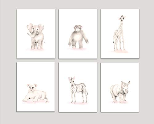 (Safari Nursery Art, Set of 6 Prints, Elephant, Giraffe, Monkey, Lion, Zebra, Rhino, Sweet Blush, Various Sizes Available, Unframed Prints)