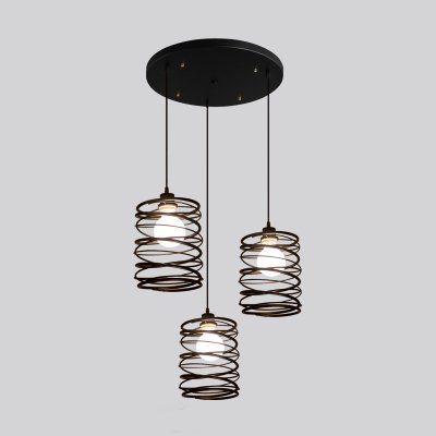Antique Black Metal Pendant Light - LITFAD Hanging Multi Pendant lights with 3 lights Ceiling Light Chandelier Mounted Fixture Painted Finish (3 Bulb Hanging Light)