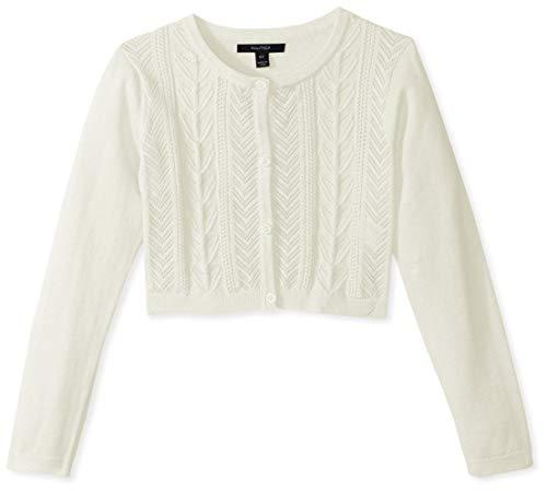 Nautica Girls' Toddler' Long Sleeve Fashion Cardigan, Cream Cable, 2T