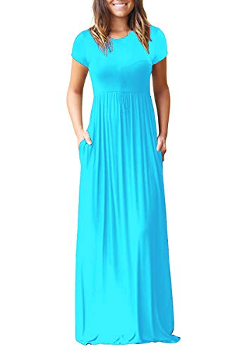 7faa6a68d HAOMEILI Women's Short Sleeve Loose Plain Long Maxi Casual Dresses with  Pockets XS Nile Blue