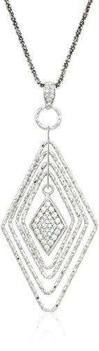Sterling Silver Italian Graduated Rhombus Shape Cubic Zirconia Dangle Necklace, 16.5