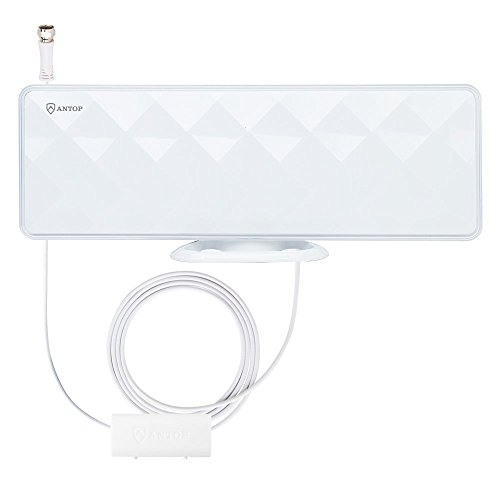 ANTOP AT-201B Flat-Panel Smartpass Amplified Indoor TV Antenna with High Gain and Built-in 4G LTE Filter 40/50 Mile Long Range Multi-Directional Reception 10' Coaxial Cable, HD/4K UHD Ready