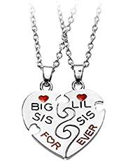 Healifty Big Sis & Little Sis Hart Ketting Set Beste Vriend Ketting Hanger Geschenken voor BFF Beste Vrienden (Stijl 2)