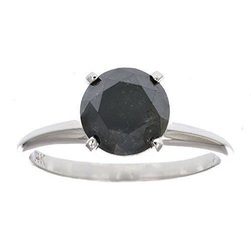 - 3 CT Black Diamond Solitaire Ring 14K Gold In Size 9
