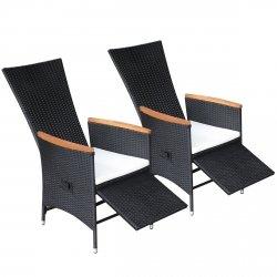 VidaXL 2X Gartenstühle Verstellbare Poly Rattan Akazienholz Outdoor Sessel