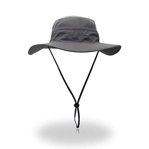 - EONPOW Windproof Fishing Hats UPF50+ UV Protection Sun Cap Outdoor Bucket Mesh Hat 56-61cm Grey