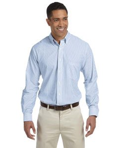 57800 Van (Van Heusen 57800 Mens Classic Long-Sleeve Oxford - Blue & White Stripe, 2XL)