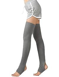 shengyuze Women Soft Cotton Braid Over Knee Winter Warm Socks Thigh-High Hose Stockings for Women Light Gray