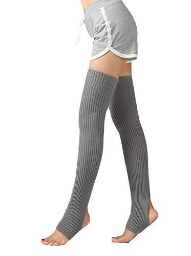 Stirrup Latin Ballroom Yoga Ballet Over Knee High Socks Knit Warm Long Leg Warmers (Grey) ()