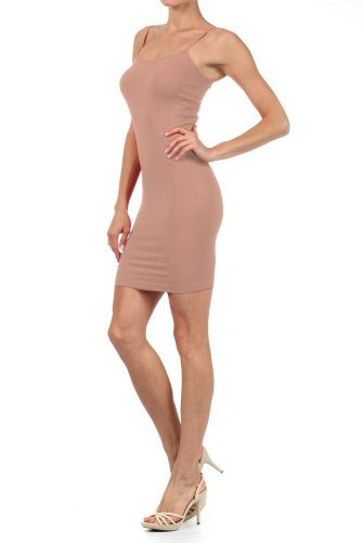 Women Solid Color Seamless Cami Slip Dress with Spaghetti Straps