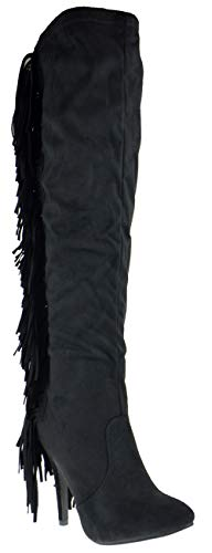Nature Breeze High Point 01 Womens Over The Knee Stiletto Fringe Boots,Black 01,9