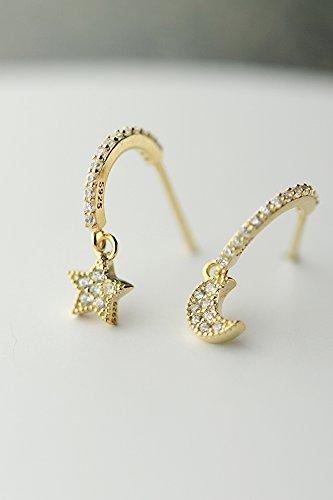s925 Silver Stud Earrings earings Dangler Eardrop Women Girls Korean Woman Gift Gilded Moon Stars Asymmetrical Student Girlfriend -