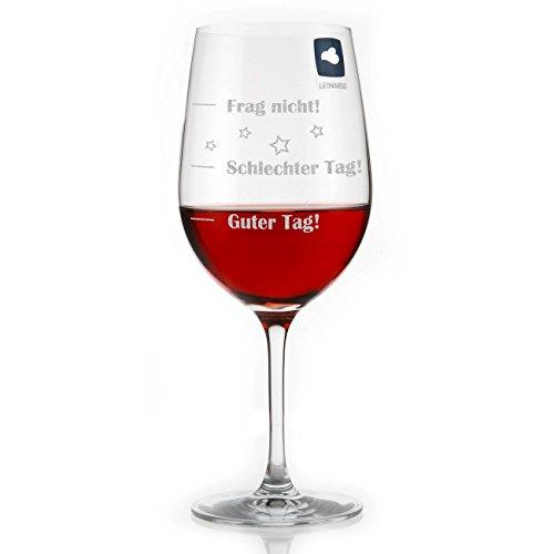 Leonardo Weinglas XL 610ml - Guter Tag - Schlechter Tag - Frag nicht! - das Stimmungsglas als lustige Geschenkidee mit Gravur