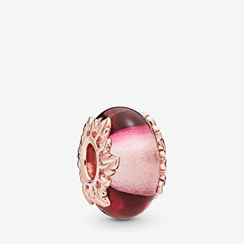 PANDORA Pink Murano Glass & Leaves PANDORA Rose Charm - 788244 (Authentic Pandora Murano)