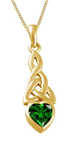 AFFY Trinity Heart Celtic Knot Pendant Necklace Simulated Emerald 14K Yellow Gold Over Sterling Silver (Cut Emerald Pendant 8mm Setting)