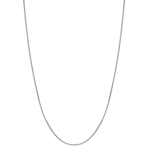 "Ouslier 925 Sterling Silver 0.8mm Box Chain Necklace Thin Lightweight Nickel-Free 14-36 Inch (0.8mm - 20"") (High King Peter Costume)"