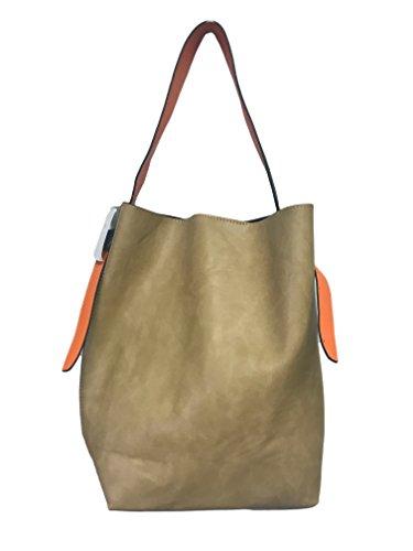Inzi Sand/Oyster Color Block Hobo Handbag by INZI