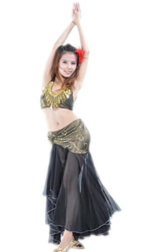 Belly Dancer Costume Ideas For Halloween (AvaCostume Belly Dance Costume Dangling Halter Top and Fishtail Skirt, Black, Set of 2)