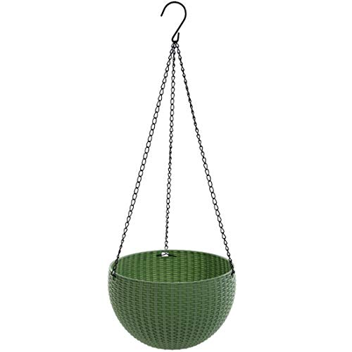 Qiling Hanging Basket Rattan Plastic Flower Pot Round Resin Garden Hanging Planter for Indoor Outdoor Plants,Size (6.5 in x 4.5 in) (Light Green) by Qiling