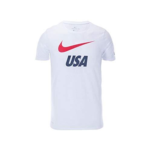 Nike Youth/Boys USA Swoosh Preseason Soccer Tee (White) (Small)