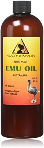 Emu Oil Australian Organic by H B OILS CENTER Triple Refined Premium Quality Natural 100 Pure 16 oz
