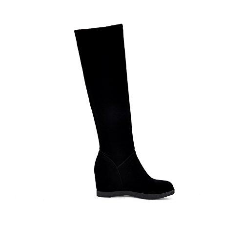 AllhqFashion Damen Hoch-Spitze Rein Ziehen auf Rund Zehe Stiefel mit Beschlagene Strass, Blau, 39