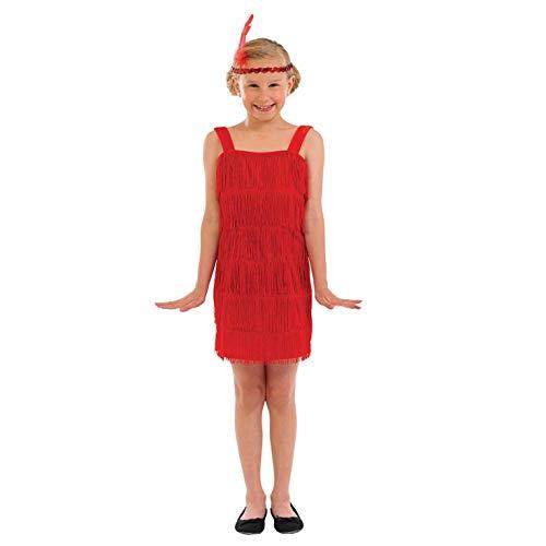 Girls 20s Flapper Girl Dress Red Fringed Decades Costume - Medium -
