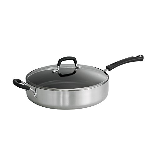 Tramontina Style 80132/026DS Aluminum Non-stick Polished Covered Saute Pan, 5.5-Quart, Made in USA