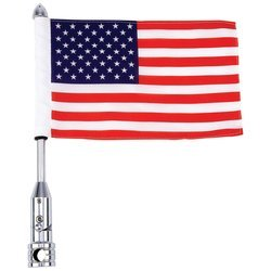 Chrome Flagpole Holder - Diamond Plate BKFLAGPL Motorcycle Flagpole Mount and American Flag USA, 13