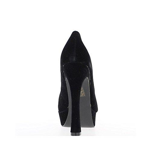 Escarpins noirs aspect daim à talons de 13,5cm et plateau